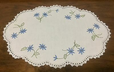 Vintage Linen Hand Embroidered Doily - Centrepiece - Blue Daisy Flowers