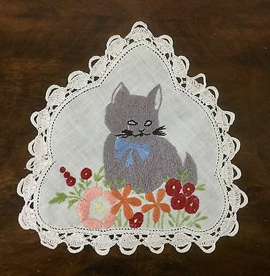 Vintage Linen Hand Embroidered Doily - Grey Cat Kitten - Shaped Doily