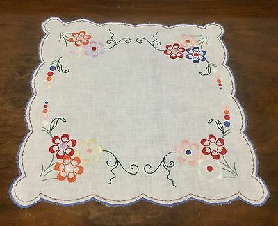 Vintage Linen Doily - Hand Embroidered - Square Floral Centrepiece