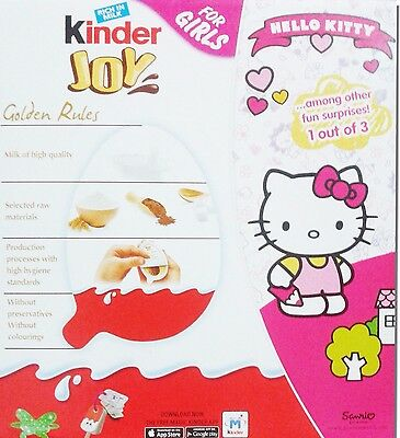 24 X *Girls*Chocolate Kinder Joy Surprise Eggs Hello Kitty Gift Inside FREE SHIP