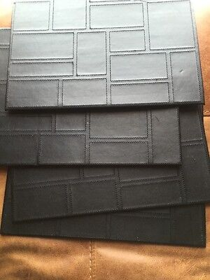 Table Plate Mats Leather Black X 4