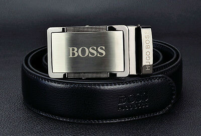 Hugo Boss Smoked gun metal Leather Belt Automatic Buckle 120cm new with tags