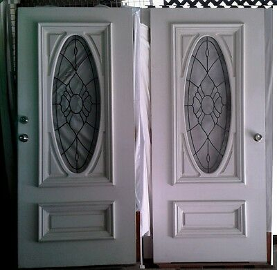 LEADLIGHT DOUBLE ENTRANCE DOORS/ SOLID CORE/ extra wide