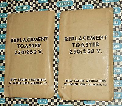 2 X Vintage BIRKO Electric TOASTER Element NOS 230 Volt UNUSED In Packet