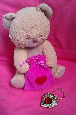 M & S Bear with sewn on cloth Gift Bag & Heart Shaped Wings Keyring