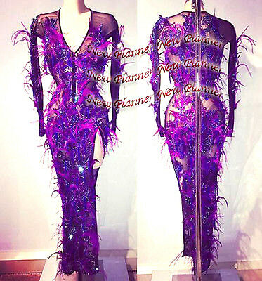 Feather Ballroom Smooth Latin Rumba Samba Dance Dress US 8 UK 10 Two Purple Lace