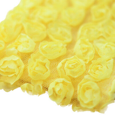 3 Yards 6-Rows 3D Chiffon Rose Flower Lace Trim Sewing Fabric for DIY Yellow