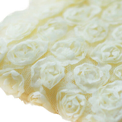 3 Yards 6-Rows 3D Chiffon Rose Flower Lace Trim Sewing Fabric for DIY Beige