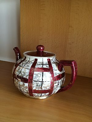 Arthur wood gilt and burgundy coloured hand painted teapot. 1950's.