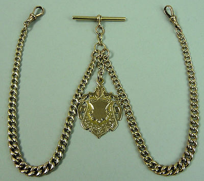 Victorian 9K Rose Gold Double Clip Pocket Watch Albert Chain & Fob - 35.2 Grams