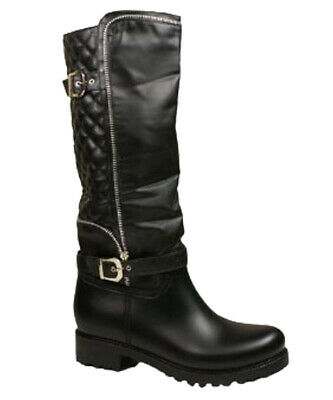 Ladies Womens Quilted Black Leather Look Knee High Lined Heel Wellington Boots