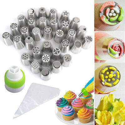 32 Russische Tulip Spritztülle Icing Piping Nozzles Set Adapter Spritzbeutel