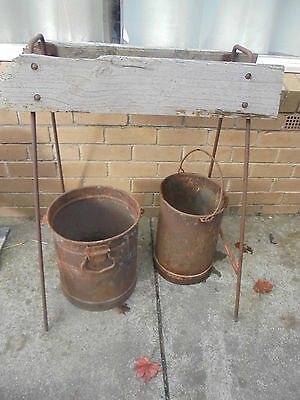 Vintage/ Antique Rustic Farm Yard Dairy Buckets And Horse Saddle Stand