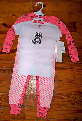 New! Girls CARTER'S 4pc Pink Gray White Cotton Puppy Dog 2 Sets Pajamas Size 2T