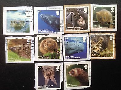 GB STAMPS 2010 ACTION FOR SPECIES MAMMALS FULL SET FINE USED Multi Issue