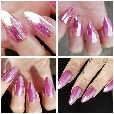 PINK MIRROR CHROME  X 20 Stiletto Nails