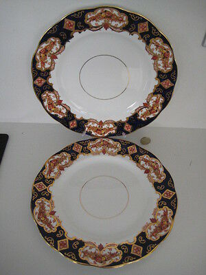 Pair Royal Albert England China Heavy Gilt Heirloom 10.5 Inch Dinner Plates