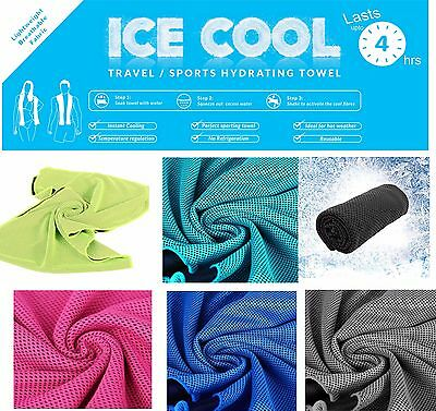 Instant Cooling ICE Cold Chill Pad Summer Towel Sports Golf Cycling Gym Yoga