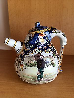 Auvergne French Faience Desvres Fourmaintraux hand painted bagpipe teapot.