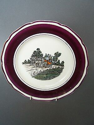 """GRAY'S POTTERY Earthenware British Copper Lustre """"Stagecoach"""" Wall Plaque Plate"""