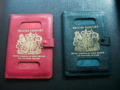 BREXIT  British UK passport English leather holder i/ RED AND BLUE/ ORIGINAL