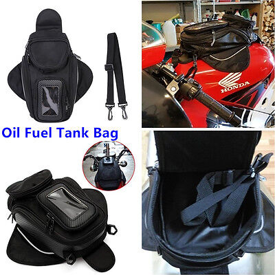 1x Motorcycle Oil Fuel Tank Bag Magnetic Motorbike Riding Bag Black Waterproof