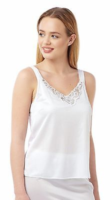 Ladies White Camisole Cling Resistant Top Lace Trim BHS Sizes 12-20