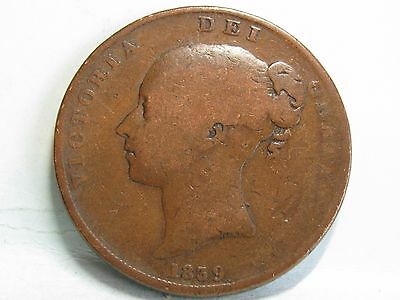 Isle Of Man Victorian **young Head** Copper Penny Coin Dated 1839