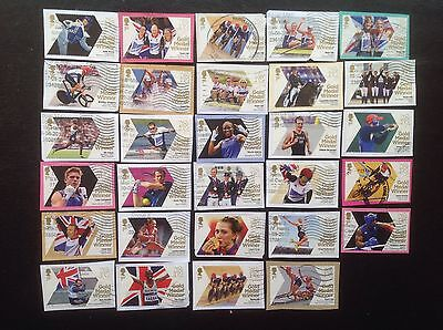 GB Stamps 2012 Olympic gold Medal Winners Full Set of 29 Fine Used. Mo Farah