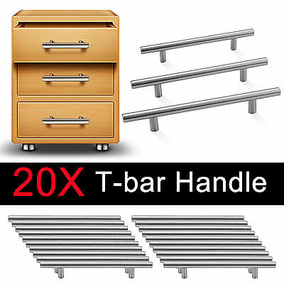 20x12MM Satin Brushed Steel T Bar Handles Kitchen Door Furniture Cupboard/Drawer