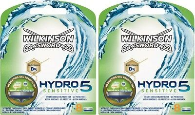 WILKINSON SWORD HYDRO 5 SENSITIVE SHAVING RAZOR BLADES - 16 BLADES (2 x 8 PACK)
