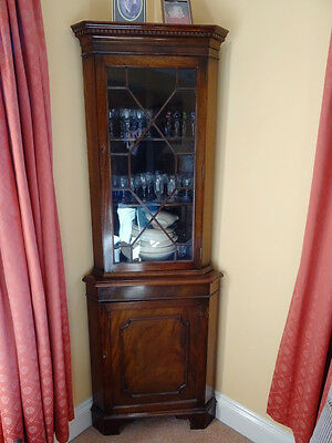 Antique Victorian corner cupboard with glass fronted shelves and drinks cabinet