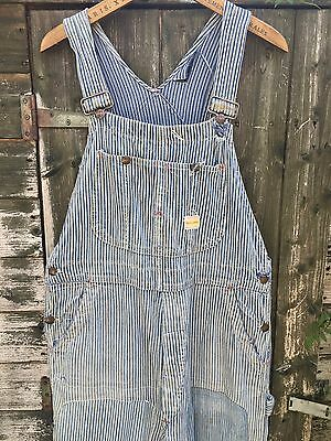 VTG 50s PENNEYS PAY DAY LIBERTY STRIPE DENIM WORK OVERALLS BIB DUNGAREES W34 L31