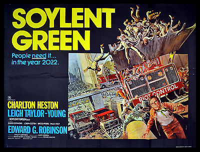 SOYLENT GREEN 1973 Charlton Heston, Leigh Taylor-Young UK QUAD POSTER
