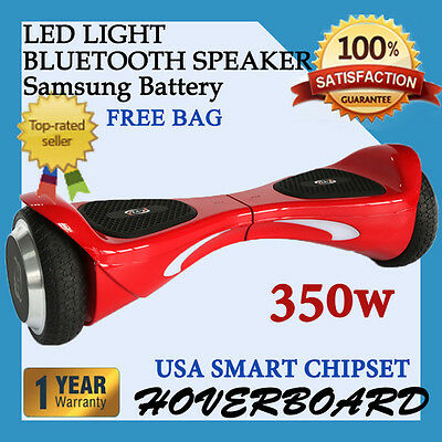 "6.5"" Two Wheel RED Bluetooth Balancing Electric Scooter UL2272 Approved"