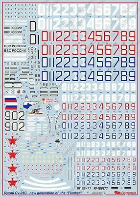 """Begemot 48-039 Decal Sukhoi Su-35S,new generation of the """"Flanker""""  1/48"""