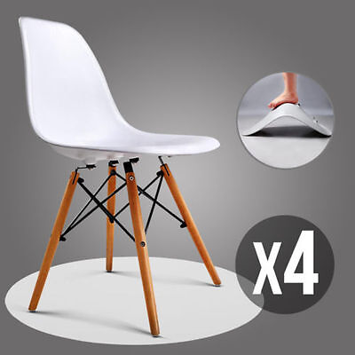 4 x Retro Replica Eames DSW Dining Chair DAW Armchair Padded Fabric ABS Effiels