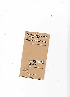 Oldham Athletic Football & Rugby League Club Fixture Card By Sport Final 1976-77