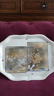 Antique Oriental Porcelain Hand Painted And Transfer Tray Signed C 1900