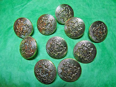 """(10) 3/4"""" Crest Coat Of Arms Decor Silver Metallic Shank Buttons Lot (N642)"""