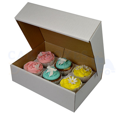 6 Corrugated Cupcake Box + Divider Cheapest On Ebay Choose Your Qty & Depth