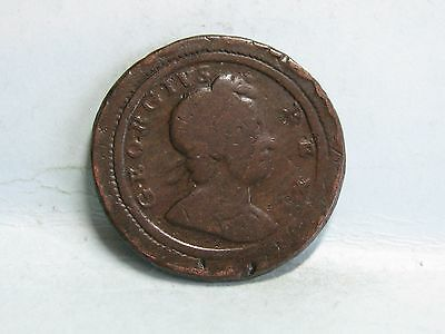 George I Copper Farthing Coin Dated 1722