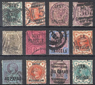 Victorian QV I.R. OFFICAL, ARMY OFFICIAL & GOVT. PARCELS Collection of 12 stamps