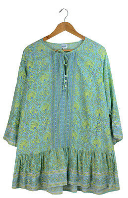 Adrift Blue Green Printed Cotton 3/4 Sleeve Tunic Top Size M