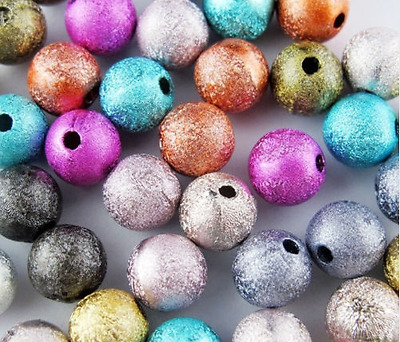 4/6/8/10/12mm Mixed Stardust Acrylic Round Ball Spacer Beads Charms Findings