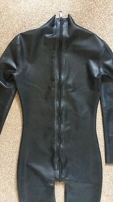 Womens Black Latex Catsuit Size 8/10