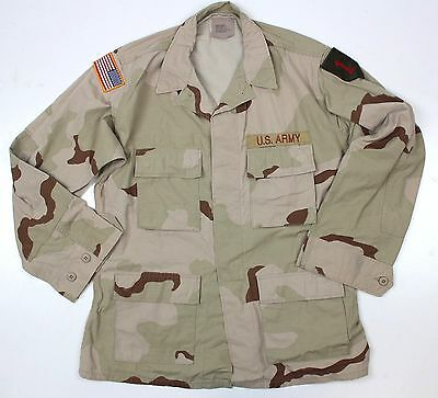 (No2) US ARMY SHIRT /  JACKET IN DESERT CAMO + BADGES 44 INCH CHEST