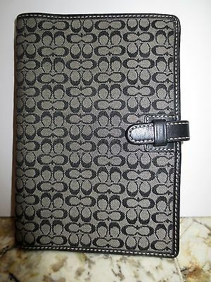 Coach Black & Grey Signature Mini C Passport Wallet Planner Cover