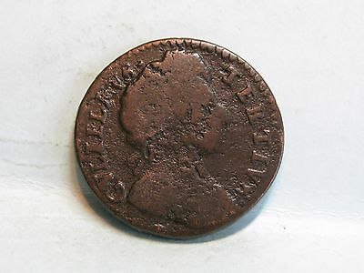 William Iii Copper Farthing Coin Dated 1700