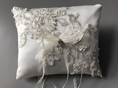 Ivory Wedding Ring Cushion Bearer Pillow Sparkly Floral Lace Pearls Heart